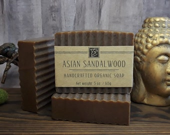 Asian Sandalwood Soap with Cocoa and Shea Butter (5 oz.) - Handcrafted Organic Soap
