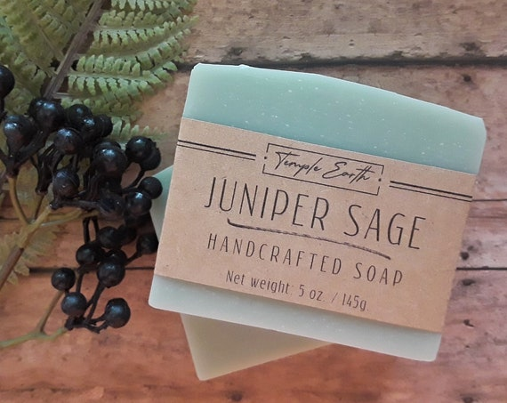 Juniper Sage Handcrafted Soap (5 oz.)  Made with Organic Cocoa Butter