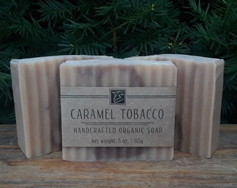 Caramel Tobacco Soap with Cocoa and Shea Butters (5 oz.) - Handcrafted Organic Soap