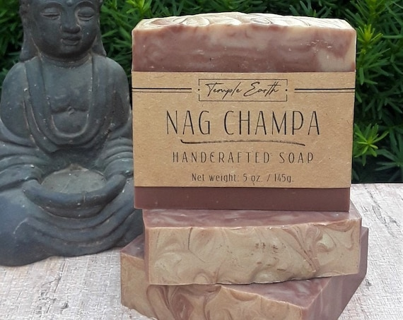 Nag Champa Handcrafted Soap (5 oz.) Made with Moroccan Argan Oil and Shea Butter