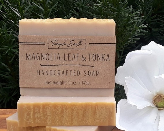 Magnolia Leaf & Tonka Soap with Cocoa Butter (5 oz.) - Handcrafted Organic Soap