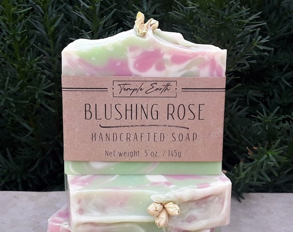 Blushing Rose Soap with Shea Butter (5 oz.) - Handcrafted Organic Soap