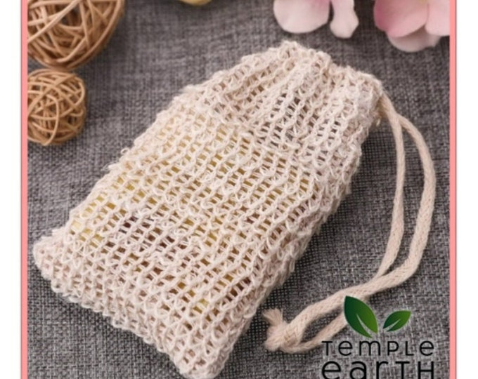 Natural Fiber Sisal Soap Bag (Exfoliating Loofah + Soap Saver) for Fast Foaming and Beautiful Lather
