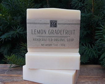 Lemon Grapefruit Soap with Aloe Vera and Cocoa Butter (5 oz.) - Handcrafted Organic Soap
