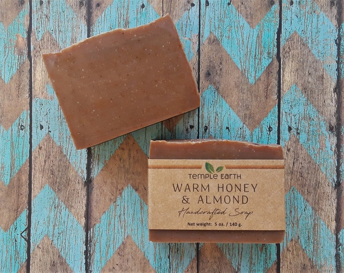 Warm Honey Almond Handcrafted Soap (5 oz) - Autumn Collection (Vegan and Organic Body Soap)