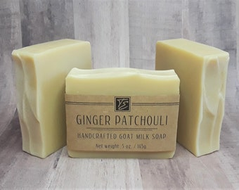 Ginger Patchouli GOAT MILK Soap (5 oz.) - Organic Soap made with Goat Milk