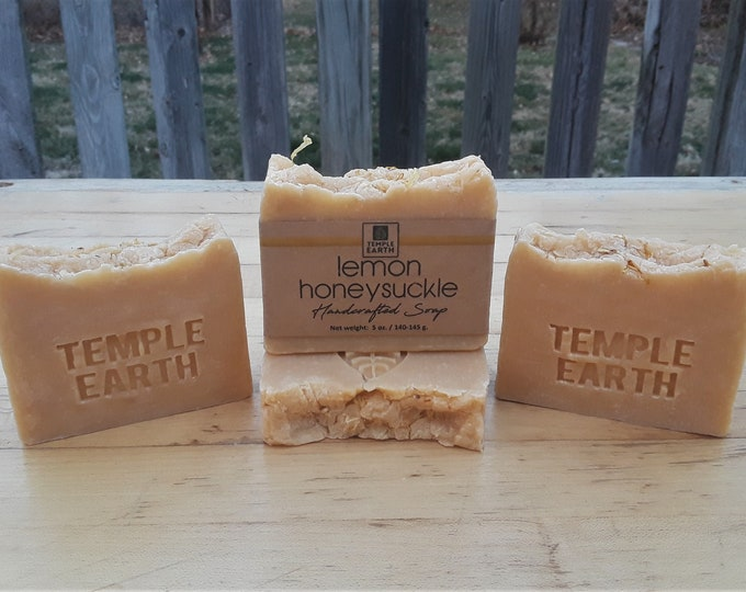 Lemon Honeysuckle Handcrafted Soap (5 oz.) - Vegan Soap with Mango Seed Butter, Great for Mature Skin!!