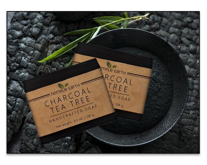 Charcoal Tea Tree Organic Soap (4.5 oz.) - Blemish Bar for Oily Skin - Handcrafted Facial and Body Soap