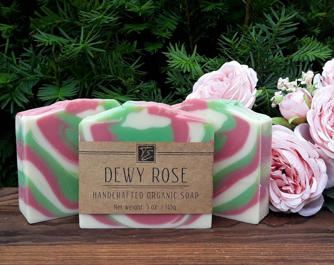 Featured listing image: Dewy Rose Soap with Cocoa Butter (5 oz.) - Handcrafted Organic Soap - JUNE BIRTH FLOWER!