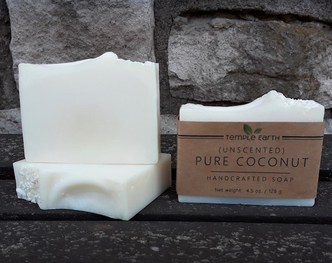 Pure Coconut Unscented Handcrafted Soap (4.5 oz.) - Organic & Vegan