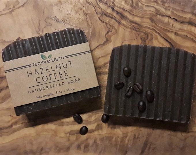 Hazelnut Coffee Handcrafted Soap (5 oz) - Cold Process Exfoliating Soap Bar - Caffeinated Soap