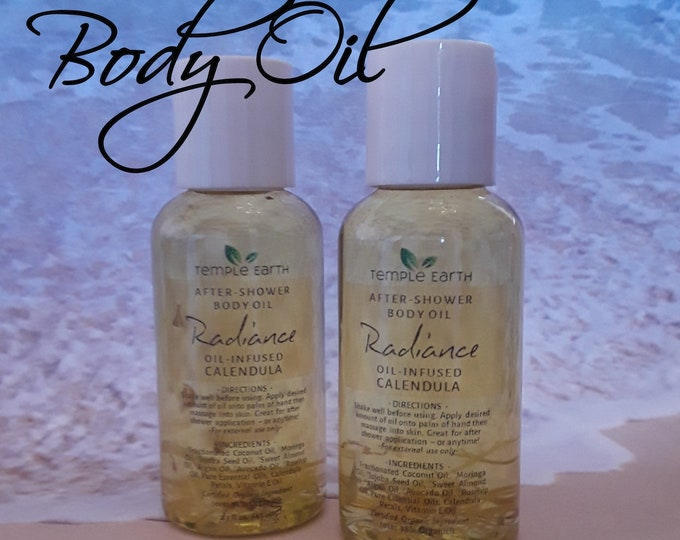 Radiance Body Oil with Moringa and Rosehip Oils - Infused Calendula Petals - Organic After-Shower Oil