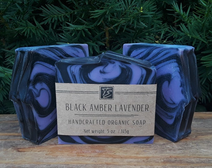 Featured listing image: Black Amber Lavender Soap with Aloe and Cocoa Butter (5 oz.) - Handcrafted Organic Soap