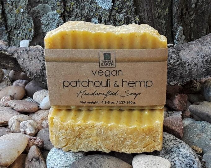 Vegan Patchouli & Hemp Soap - Hot Process Soap Made With Hemp Seed Oil and Dark Patchouli EO