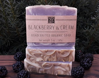 Blackberry & Cream Soap with Shea Butter (5 oz.) - Handcrafted Organic Soap