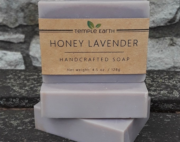 Honey Lavender Handcrafted Soap (4.5 oz) with Shea Butter
