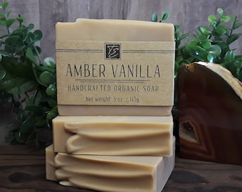 Amber Vanilla Soap with Cocoa Butter (5 oz.) - Handcrafted Organic Soap