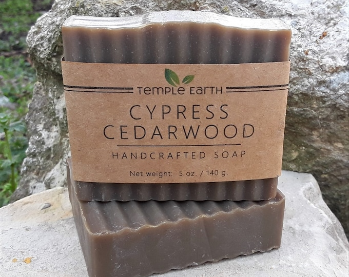 Cypress Cedarwood Handcrafted Soap (5 oz.) - Warm Earthy Scent - Cold Process, Hand Poured, Hand Cut