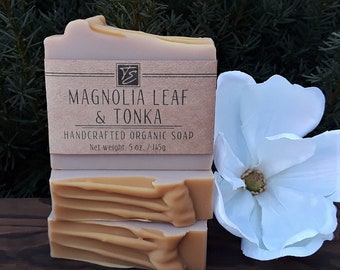 Magnolia Leaf & Tonka Soap with Shea and Cocoa Butters (5 oz.) - Handcrafted Organic Soap