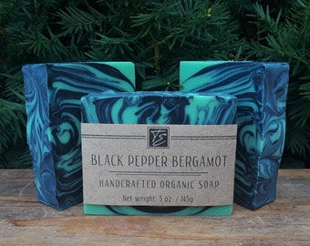 Black Pepper Bergamot Soap with Aloe and Cocoa Butter (5 oz.) - Handcrafted Organic Soap