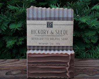Hickory & Suede Soap with Cocoa Butter (5 oz.) - Handcrafted Organic Soap