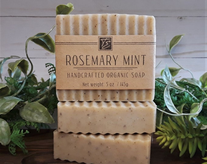 Featured listing image: Rosemary Mint Soap with Cocoa and Shea Butter (5 oz.) - Handcrafted Organic Soap