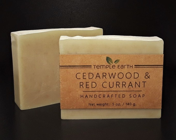 Cedarwood & Red Currant Handcrafted Soap (4 oz) - Classic Men's Bar Soap - Cold Process