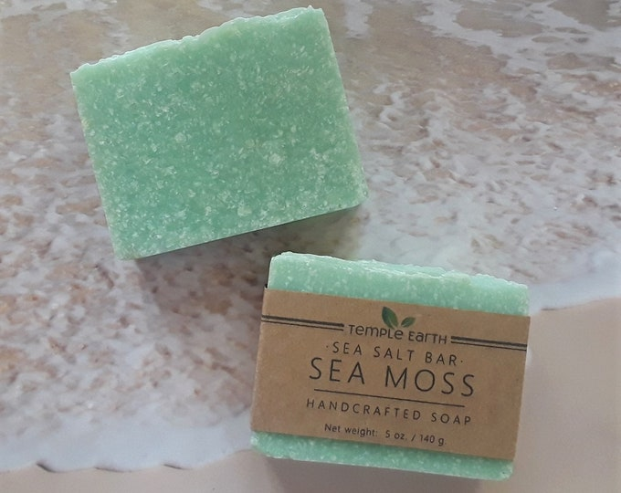 Sea Moss Salt Soap - Exfoliating Sea Salt & Clay Soap with Seaweed Extract - Luxurious Spa Bar