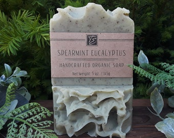 Spearmint Eucalyptus Soap with Cocoa and Shea Butters (5 oz.) - Handcrafted Organic Soap