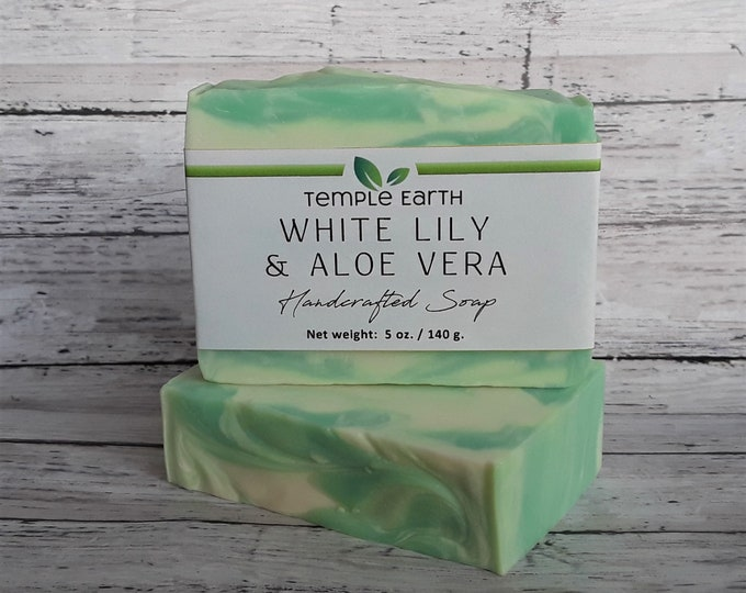 White Lily & Aloe Vera Soap Bar (5 oz) - Moisturizing Shea Butter - Clean Fresh Scent *VEGAN!*