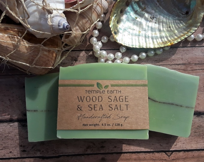 Wood Sage & Sea Salt Soap (4.5 oz) Jo Malone Inspired Unisex Fragrance - Beautifully Handcrafted