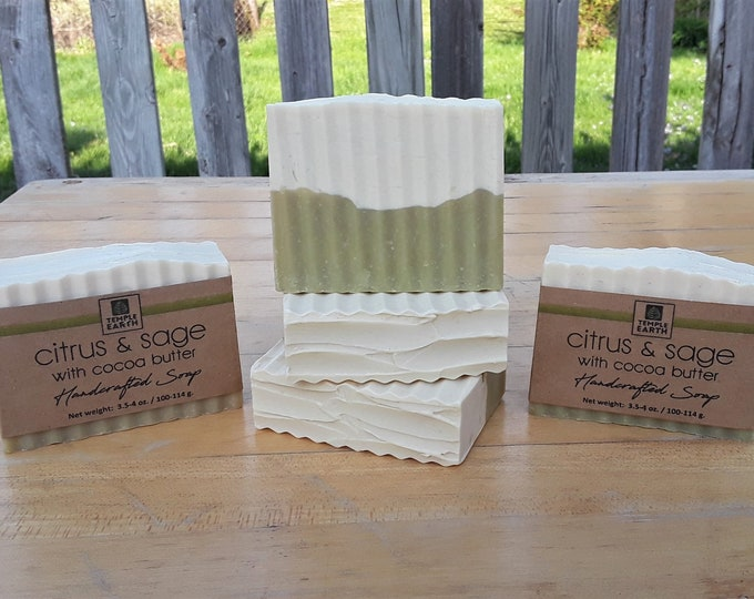 Citrus & Sage Handcrafted Soap (3.5-4 oz.) - Clean and Refreshing Vegan Soap made with Cocoa Butter