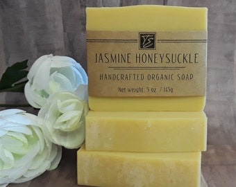 Jasmine Honeysuckle Soap with Cocoa Butter (5 oz.) - Handcrafted Organic Soap