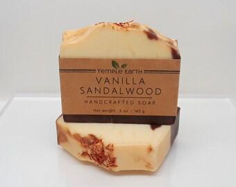 Vanilla Sandalwood Handcrafted Soap (5 oz) - Cold Process Soap Bar
