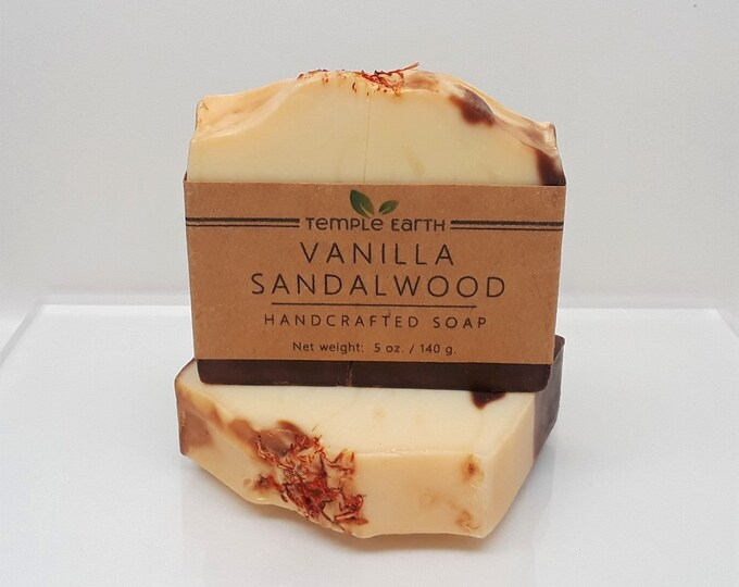 Vanilla Sandalwood Handcrafted Soap (5 oz) - Cold Process Soap Bar
