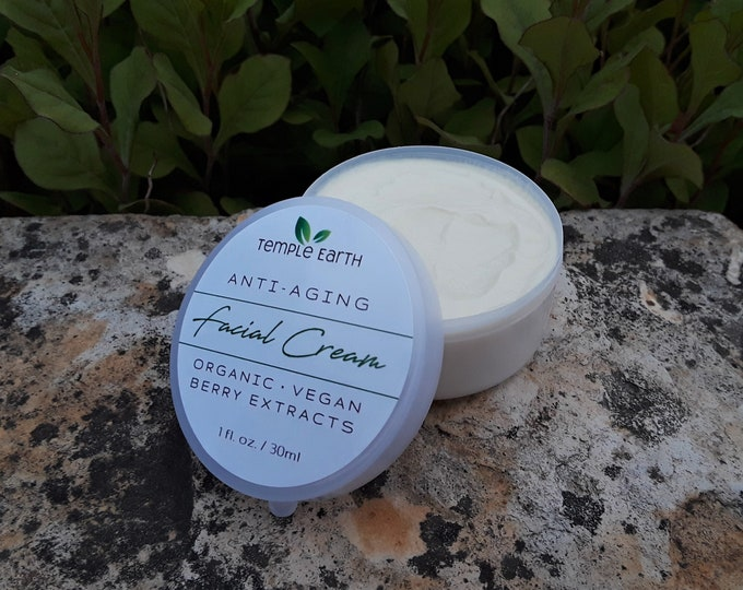 Organic Face Moisturizing Cream - Antioxidant with Rosehip Oil & Berry Extracts for Mature/Damaged Skin *VEGAN* Day and Night Cream!