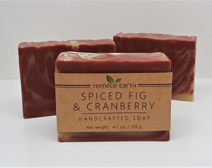 Spiced Fig & Cranberry Handcrafted Soap (4.5 oz.) - Cold Process, Hand Poured, Hand Cut