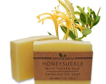 Honeysuckle Handcrafted Soap with Silk & Mango Butter (4.5 oz) - Cold Process Luxury Soap Bar