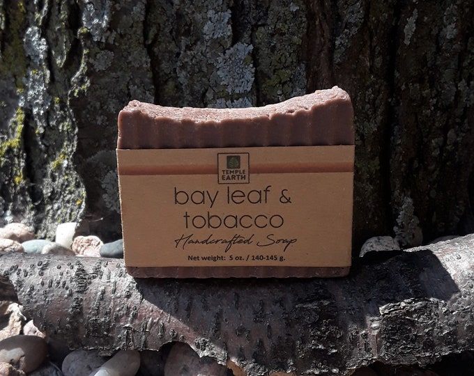 Tobacco Bay Leaf Handcrafted Soap - Men's Favorite with Coconut Milk, Hemp Seed Oil, & Rhassoul Clay (5 oz.)