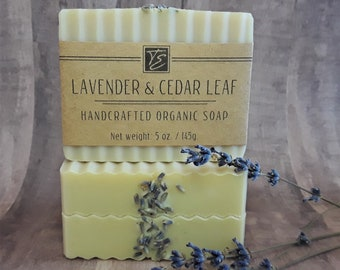 Lavender & Cedar Leaf Soap with Cocoa Butter (5 oz.) - Handcrafted Organic Soap