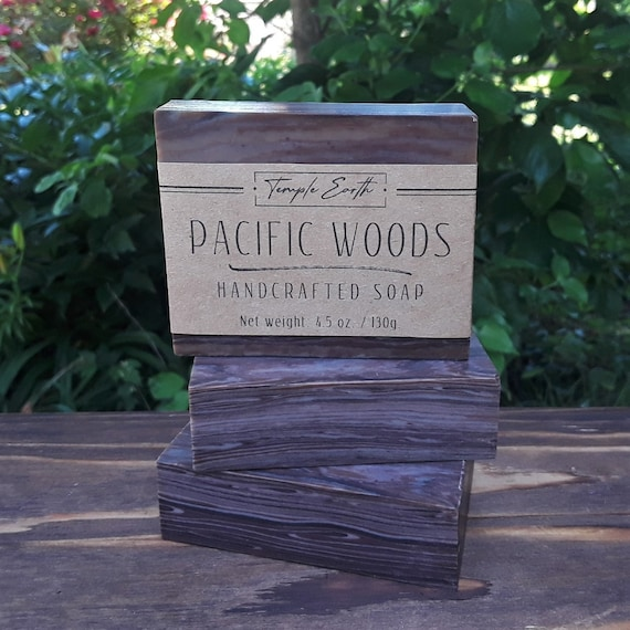 Pacific Woods Handcrafted Soap (4-4.5 oz.) - Wood Grain Technique - Cold Process, Hand Poured, Hand Cut