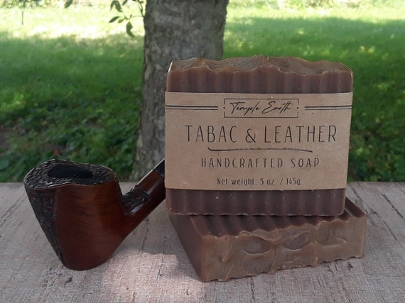 Tabac & Leather Handcrafted Soap with Natural Rosehip Powder (5 oz.) - Cold Process, Hand Poured, Hand Cut