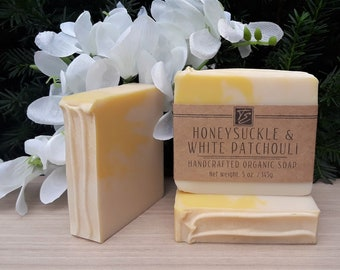 Honeysuckle & White Patchouli Soap with Cocoa Butter (5 oz.) - Handcrafted Organic Soap