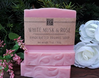 White Musk & Rose Soap with Shea Butter (5 oz.) - Handcrafted Organic Soap
