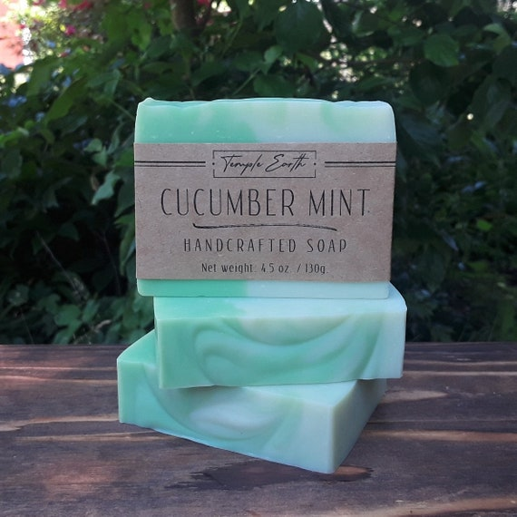 Cucumber Mint Handcrafted Soap (5 oz.)  Natural - Organic - Vegan