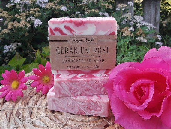 Geranium Rose Handcrafted Soap with Shea Butter: Natural - Organic - Vegan
