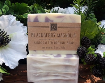 Blackberry Magnolia Soap with Aloe and Cocoa Butter (5 oz.) - Handcrafted Organic Soap