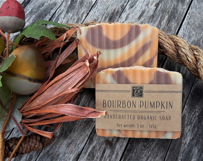 Featured listing image: Bourbon Pumpkin Soap with Cocoa and Shea Butters (5 oz.) - Handcrafted Organic Soap