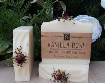 Vanilla Rose Soap with Shea Butter (5 oz.) - Handcrafted Organic Soap