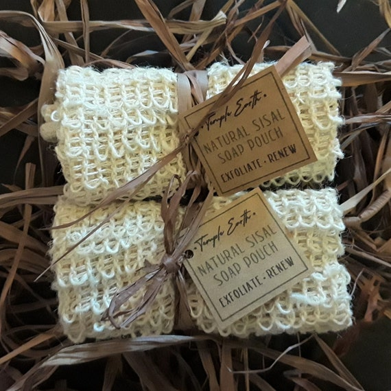 Natural Fiber Sisal Soap Bag (Exfoliating Loofah + Soap Saver) for Fast Foaming and Beautiful Lather